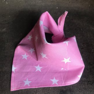 Pink white star tie bandana