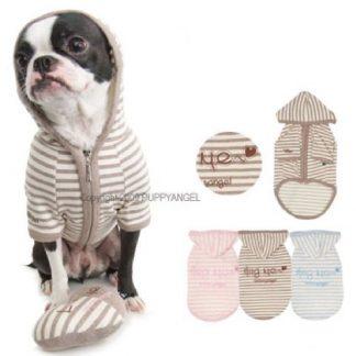 Striped Hoodie With Hug Me Slogan