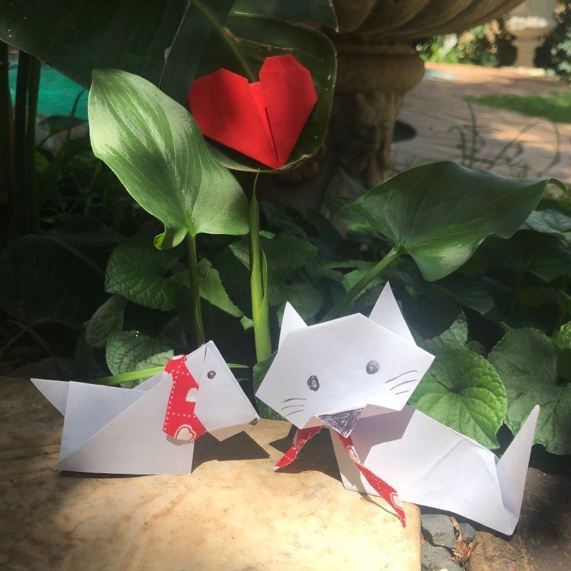 Origami Cat & Dog with Red Origami Heart