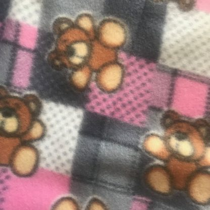 Close up of bear detail on fleece pet blanket